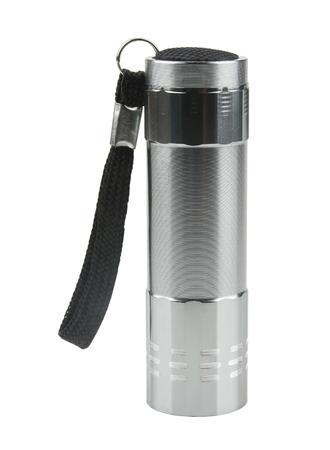 Metal flashlight isolated on white background.