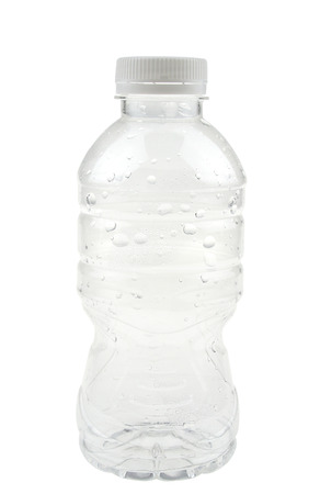 Empty plastic bottle with droplet isolated on white background.