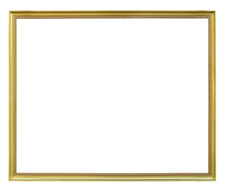 Gold metal frame isolated on white background. 스톡 콘텐츠