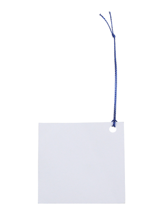 Blank tag tied with string. Price tag, gift tag, sale tag, address label. 스톡 콘텐츠