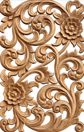 Pattern of flower carved on wood isolated on white background. 스톡 콘텐츠