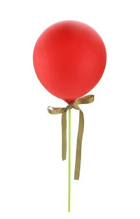 Red balloon isolated on white background.