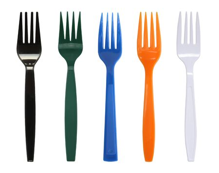 Colorful plastic forks isolated on white background.