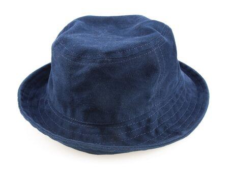 Dark blue bucket hat isolated on white background.