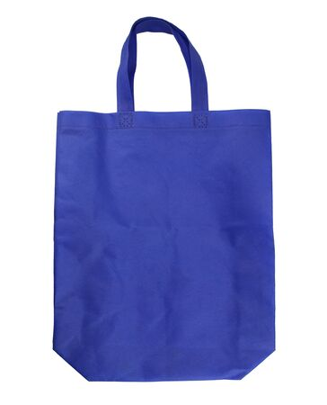 blue reusable shopping bag isolated on white background. 스톡 콘텐츠