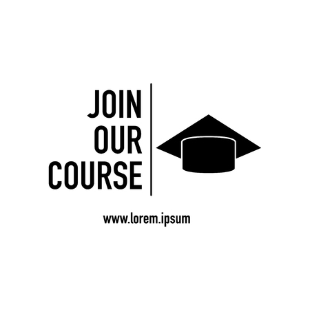 join our course with black icon white background