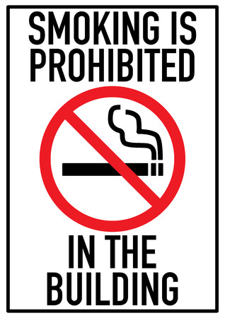 no smoking prohibition sign red on white background