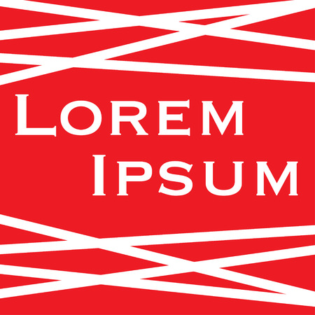 Lorem ipsum with white stripes on red background Illustration