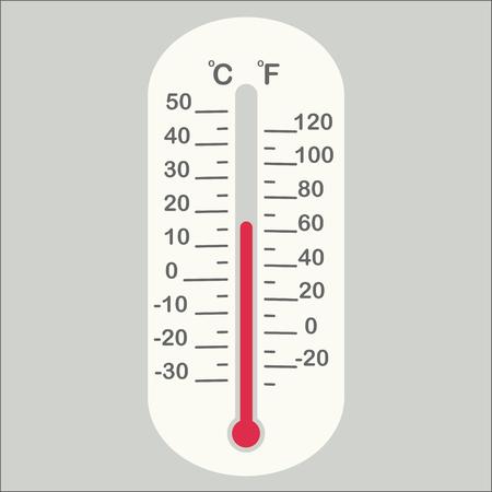 cute temperature gauge in flat design fahrenheit celsius 版權商用圖片 - 121864802