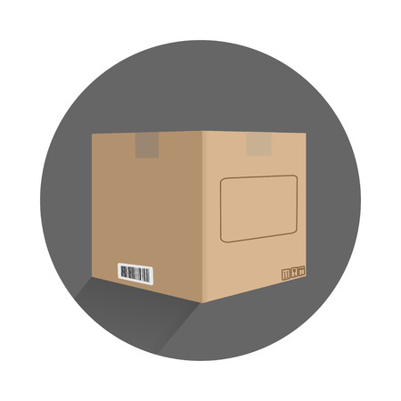 carton box in flat design with signs on