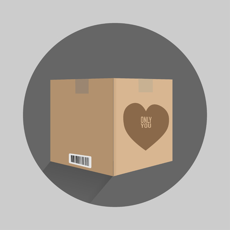 carton box with a heart on only you flat