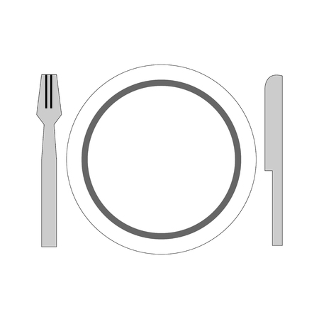 dish set plate spoon fork on empty background