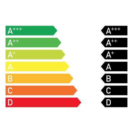 diagramma di efficienza del risparmio energetico colorato in stile comune