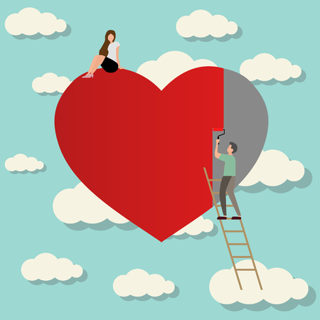 man falling in love with girl painting heart