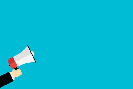 main tenant une icône de mégaphone pour l'annonce du marché à plat Vecteurs