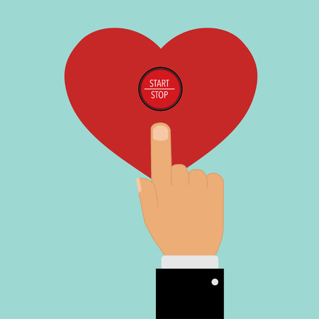pointing with a finger to start stop heart button