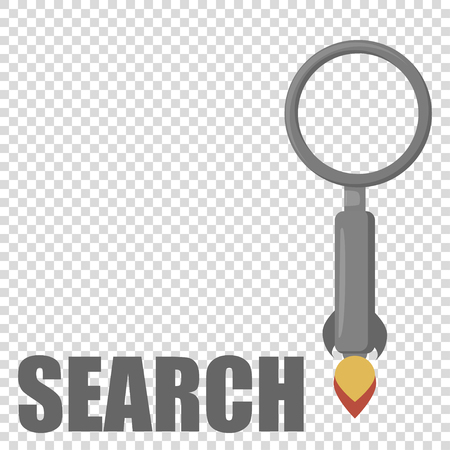 rocket magnifying glass in flat design grey colour