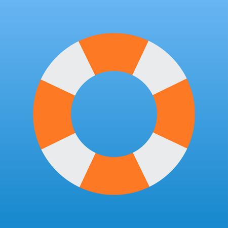 saving ring white and orange vector icon sea