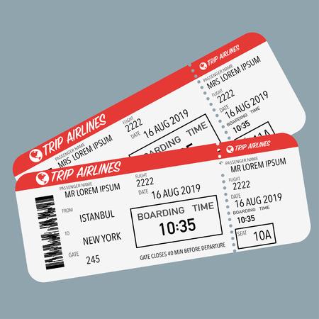 billete de avión para el embarque del avión de pasajeros rojo blanco