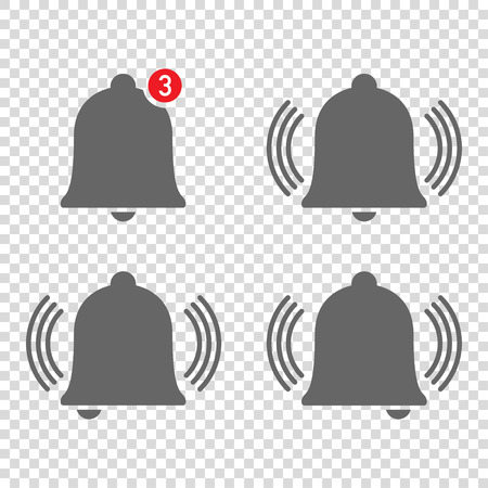 four nice icons of bells ringing with notification