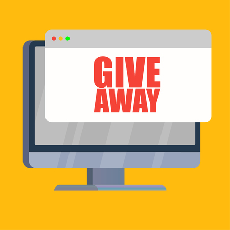 computer showing give away announcement red words vector