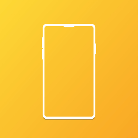 the white shape of mobile phone gradient background