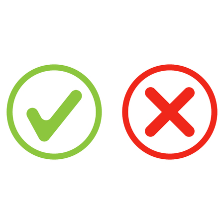 yes no green and red icon vector set 向量圖像