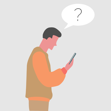 young guy watching his phone in flat design