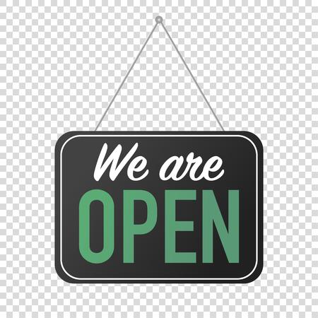 we are open sign for door posting vector