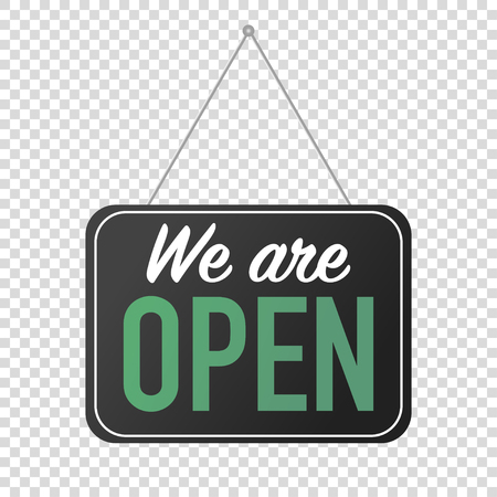 we are open sign for door posting vector