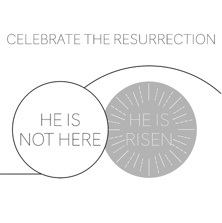 happy easter greeting card with empty tomb risen Illustration
