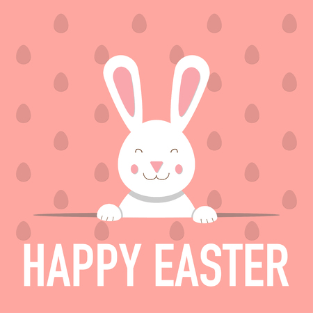 happy easter greeting card with funny bunny vector Illustration