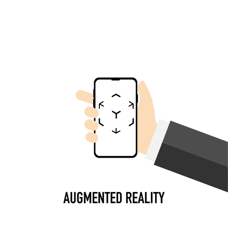 augmented virtual reality black and white vector