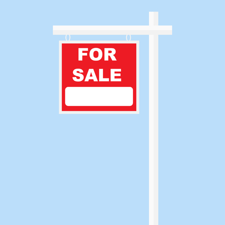 for sale sign red board on white pillar
