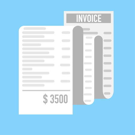 very long invoice receipt to present costly buying Illustration
