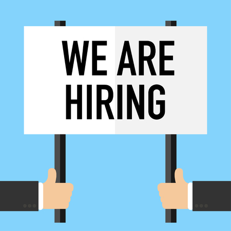 we are hiring poster for people recruitment vector