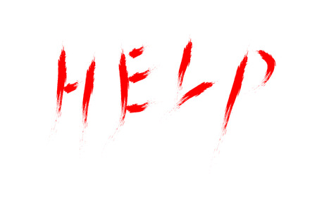 word help hand written with the blood vector Illustration