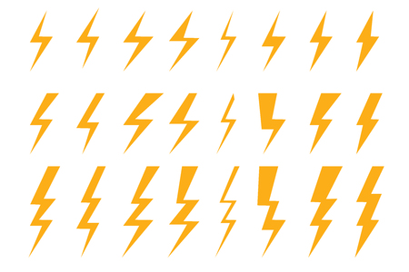 set of a few types thunder lightning flash bolt