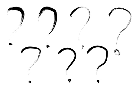set of seven handdrawn question marks white background