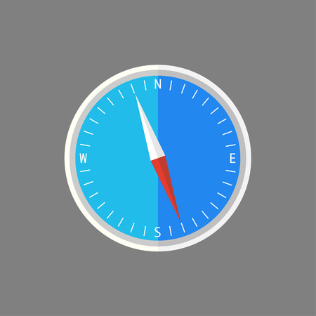 compass in flat design blue background showing north Ilustração