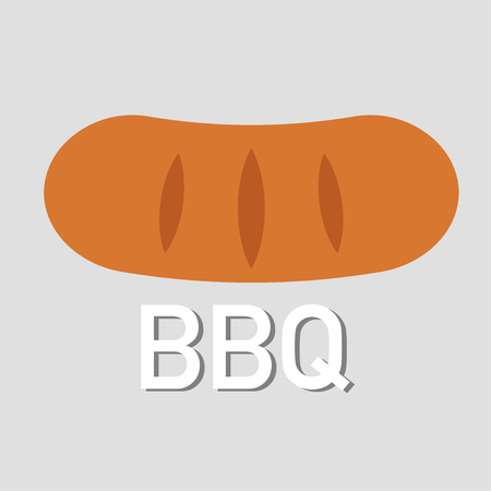 bbq lets grill some sausage grey background vector