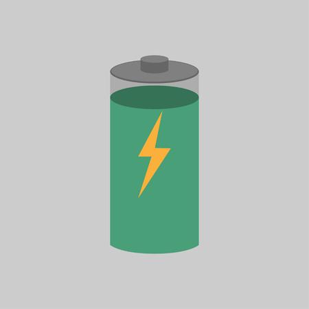 Batterieladung mit ihrem auf dem Vektor angezeigten Pegel
