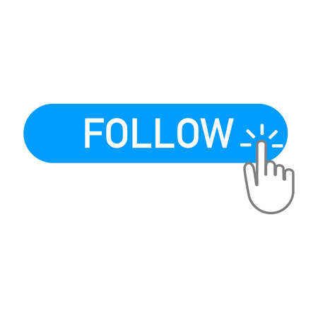 follow blue button with a hand clicking on it Vettoriali