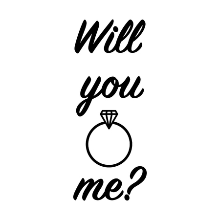 'Will you marry me ' lettering isolated on white