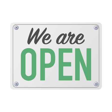 we are open plate sign for customers vector