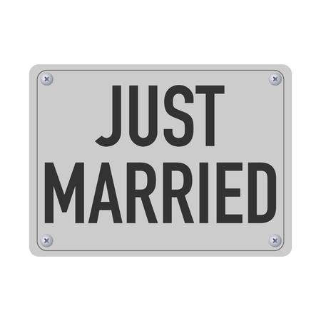 placa de metal recién casada para el vector de coche Ilustración de vector
