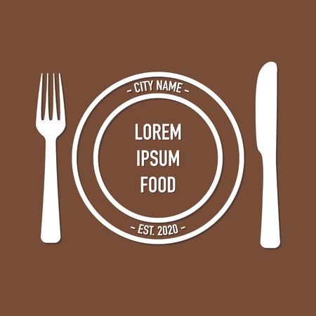 concept design for cafe with fork and spoon vector Standard-Bild - 124518232
