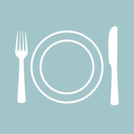concept design for cafe with fork and spoon Standard-Bild - 124518234