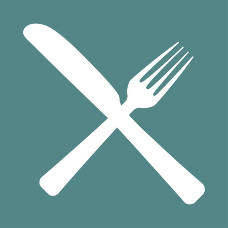 concept design for cafe with fork and spoon Standard-Bild - 124518237