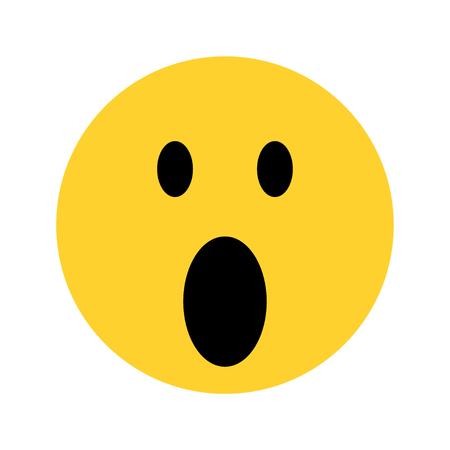 excited yellow face emoji on white background Ilustracja